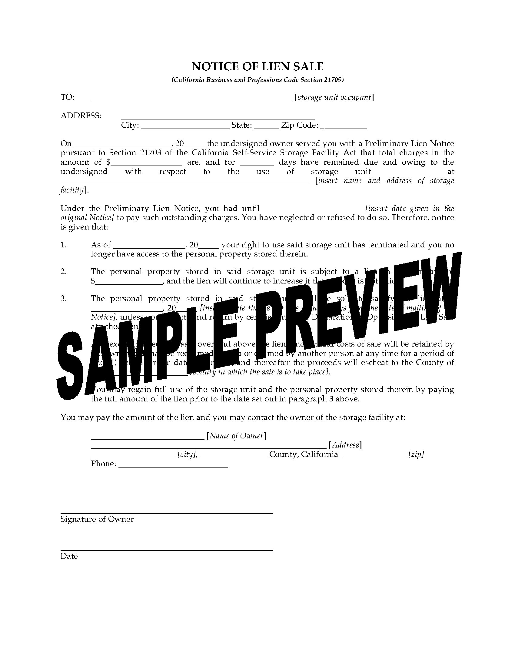 California Notice Of Lien Sale Forms Legal Forms And