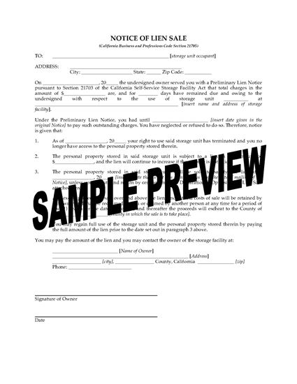 Picture of California Notice of Lien Sale Forms