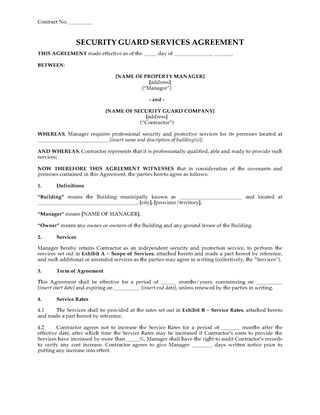 Picture of Security Guard Agreement   Canada
