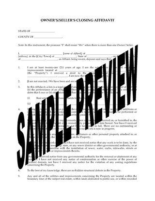 Picture of USA Seller's Closing Affidavit