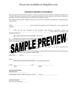 Picture of Illinois Owner's Sworn Statement under Mechanics Lien Act