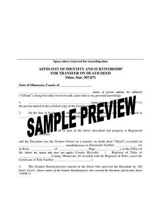Picture of Minnesota Affidavit of Identity and Survivorship for Transfer on Death Deed