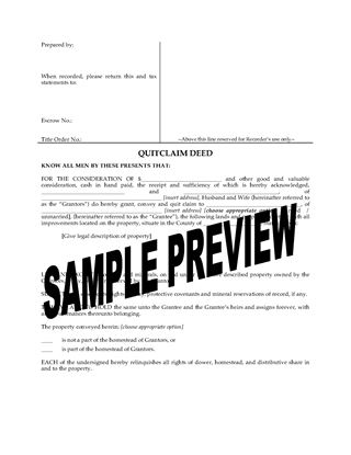 Picture of Iowa Quitclaim Deed from Husband and Wife to Individual