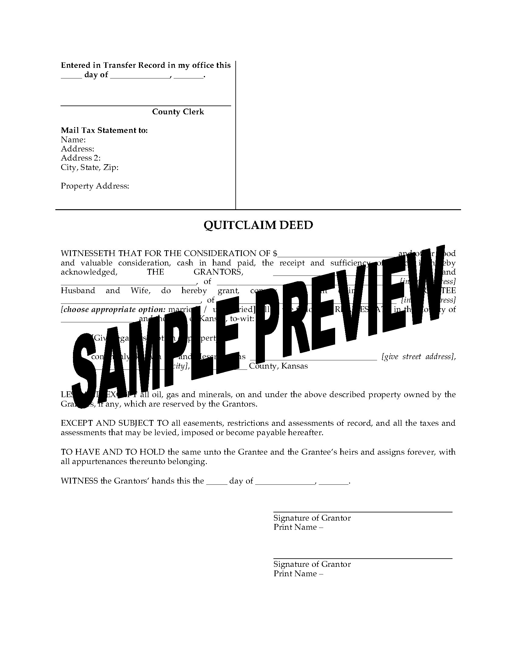 Kansas Quitclaim Deed From Husband And Wife To Individual Legal - Kansas legal forms