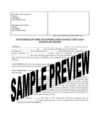 Picture of California Extension of Time to Enforce Mechanics Lien and Notice of Credit