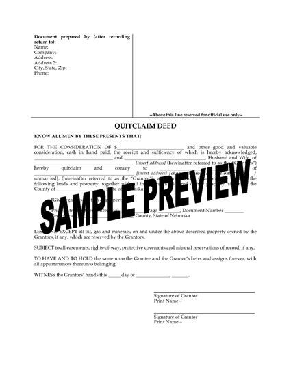 Picture of Nebraska Quitclaim Deed from Husband and Wife to Individual