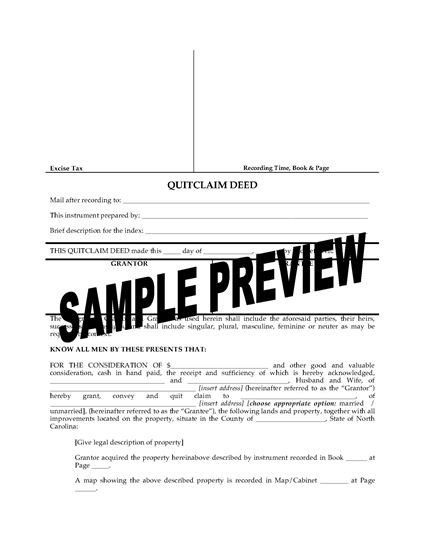 Picture of North Carolina Quitclaim Deed from Husband and Wife to Individual