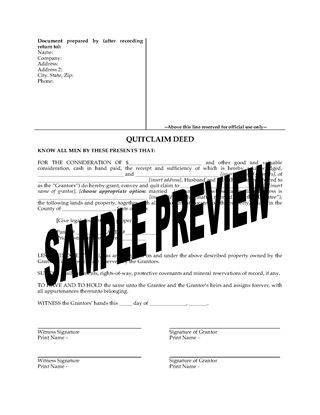 Picture of Ohio Quitclaim Deed from Husband and Wife to Individual