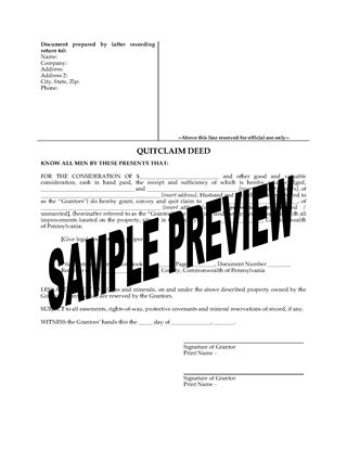 Picture of Pennsylvania Quitclaim Deed from Husband and Wife to Individual