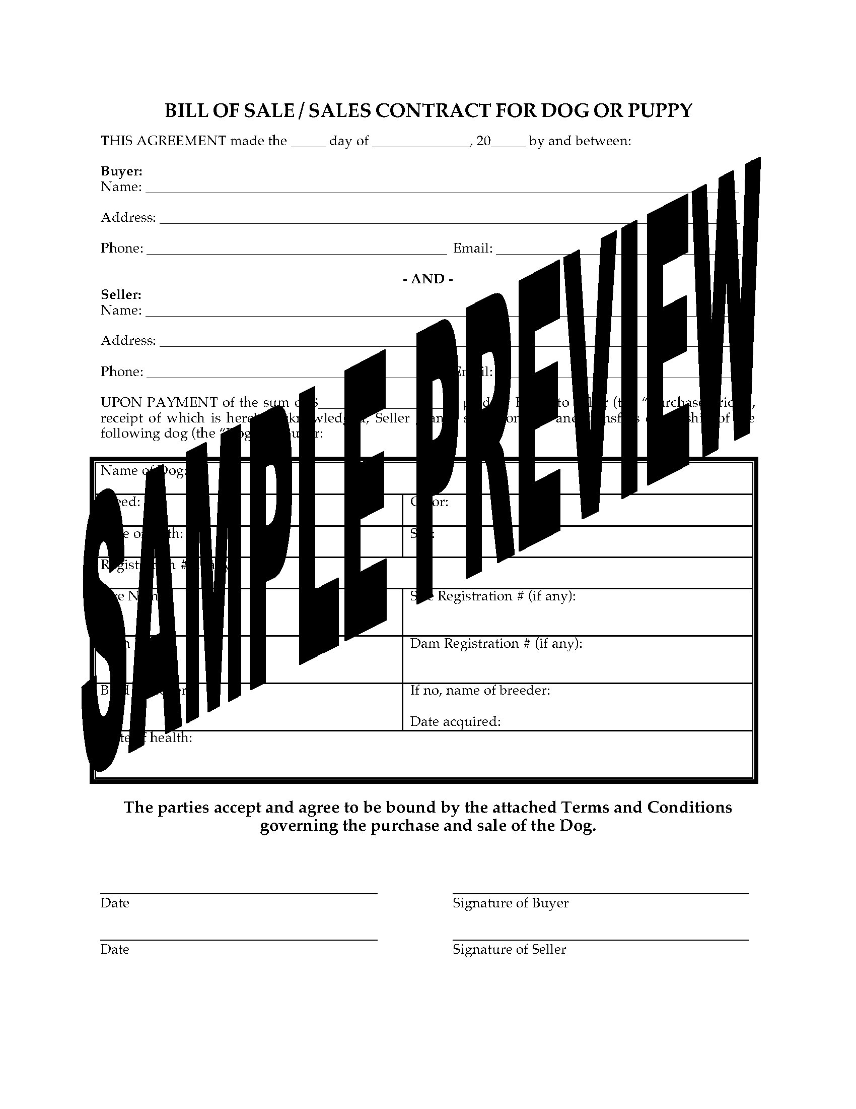 Bill Of Sale Form For Dog Or Puppy Legal Forms And Business Templates Megadox Com