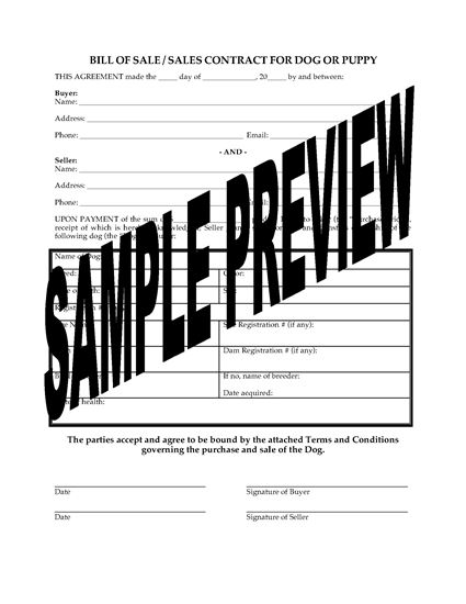 Picture of Bill of Sale for Dog or Puppy