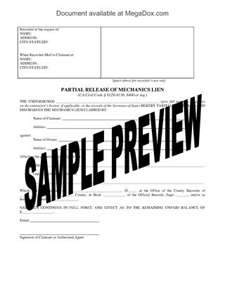 Picture of California Release of Mechanics Lien Forms