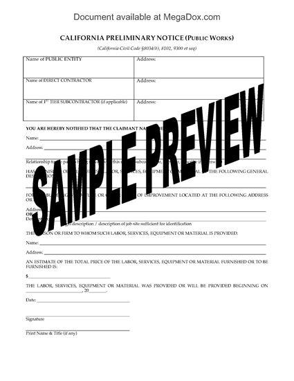 Picture of California Preliminary Notice (Public Works)