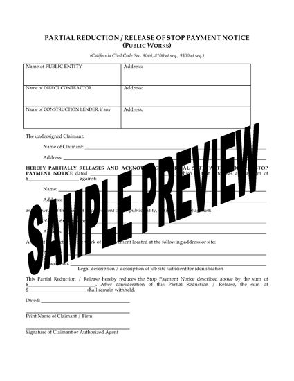 Picture of California Release of Stop Payment Notice Forms (Public Works)