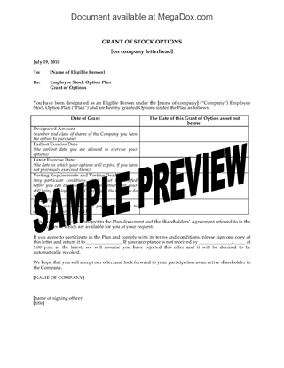 Picture of Notice of Grant of Stock Options