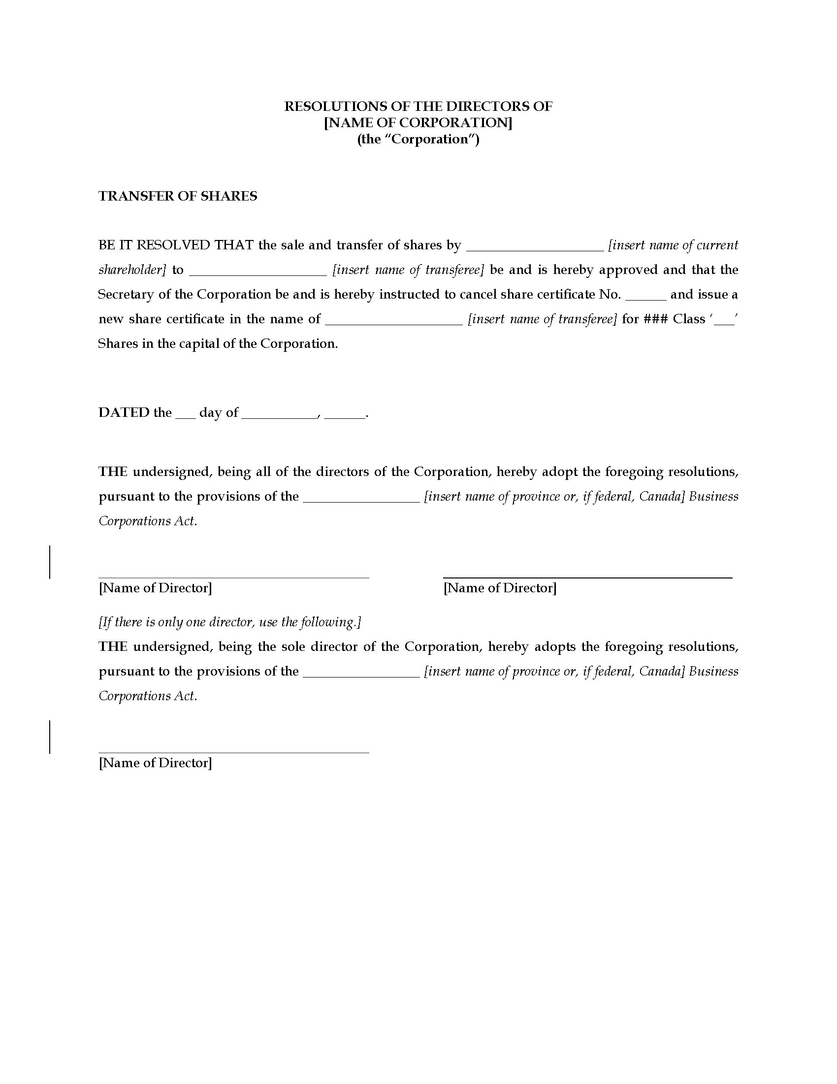 resolution of trustees template - canada directors resolution approving share transfer