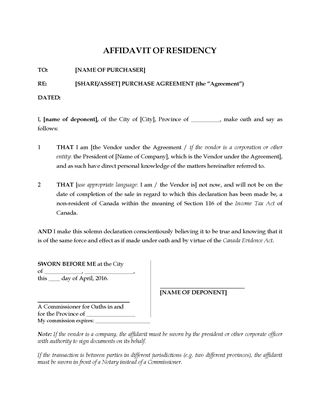 Picture of Affidavit of Residency for Sale of Business | Canada