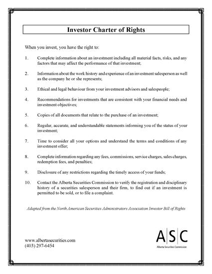 Picture of Alberta Investor Charter of Rights