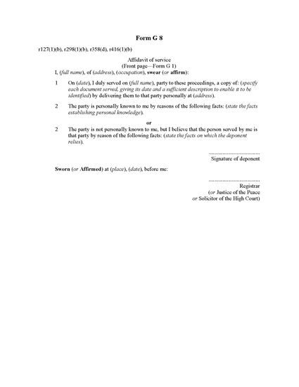 Picture of Affidavit of Personal Service | New Zealand