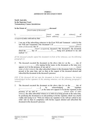 Picture of SA Affidavit of Due Execution of Will