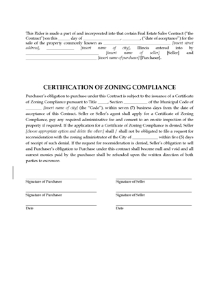Picture of Illinois Zoning Compliance Rider