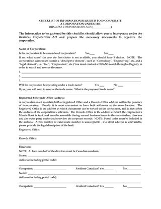 Picture of Incorporation Checklist for Business Corporation (Canada)