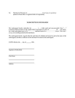Picture of Share Subscription Form | Canada
