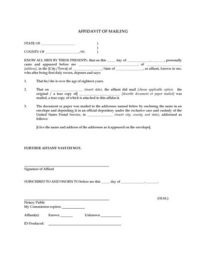 Picture of Affidavit of Mailing | USA