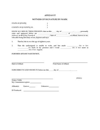 Picture of Affidavit of Witness by Mark (USA)