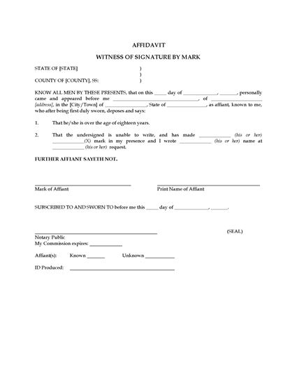 Picture of Affidavit of Witness by Mark | USA