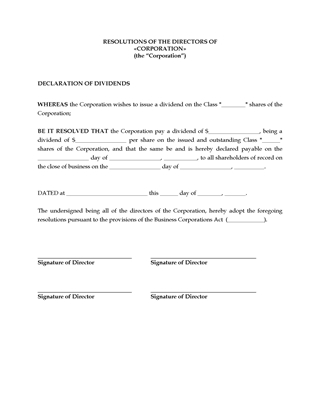Picture of Directors Resolution to Declare Share Dividends | Canada