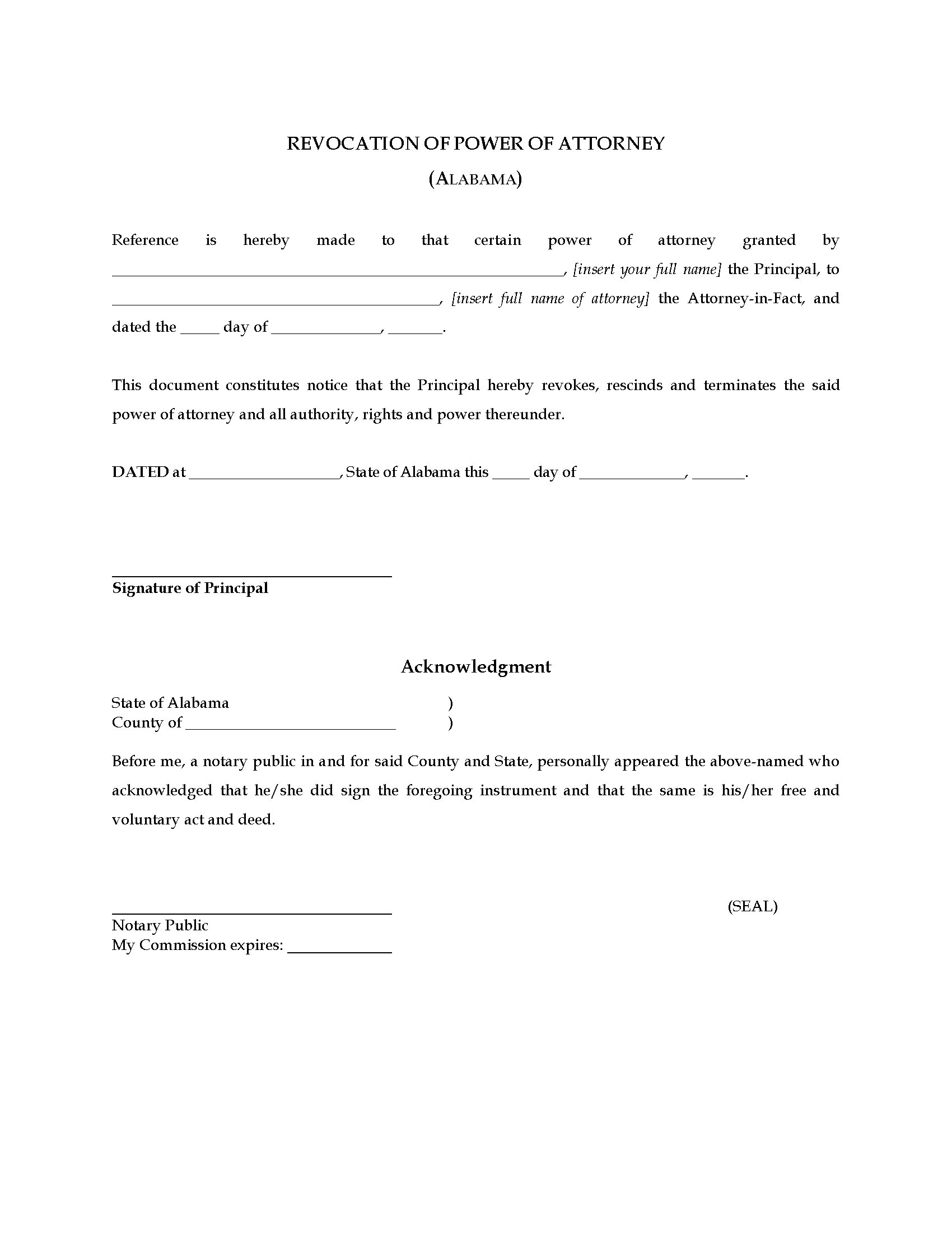 Alabama Revocation of Power of Attorney | Legal Forms and ...
