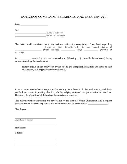 Picture of Complaint to Landlord About Another Tenant | Canada