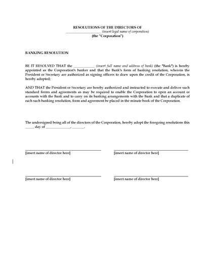 Picture of Directors Resolution to Designate Bank | USA