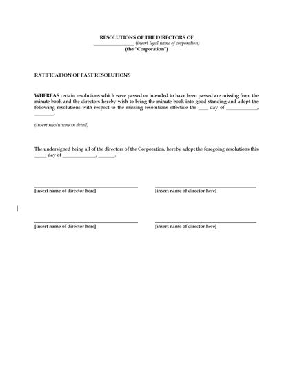 Picture of Directors Resolution to Ratify Past Resolutions (USA)