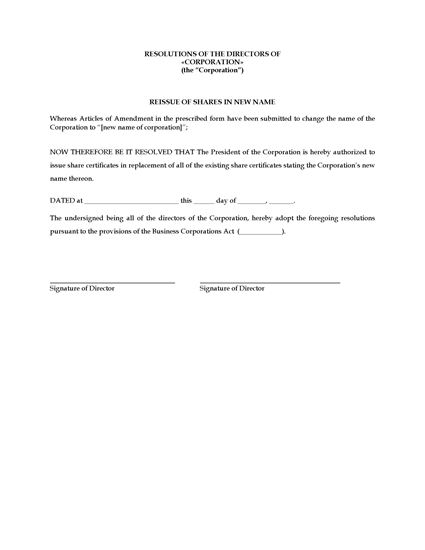Picture of Directors Resolution to Reissue Shares After Name Change | Canada