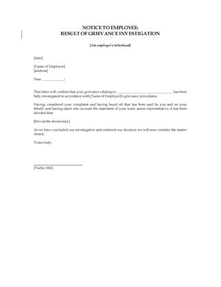 Picture of Notice to Employee of Grievance Investigation | UK