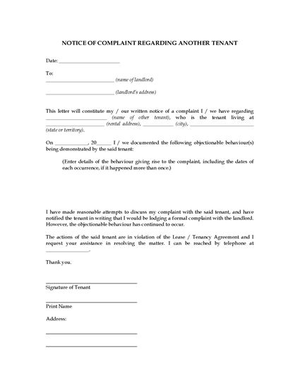 Picture of Complaint Letter About Another Tenant | Australia
