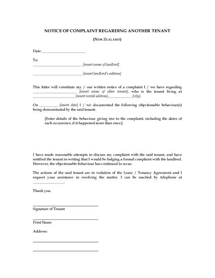 Picture of Complaint Letter About Another Tenant | New Zealand