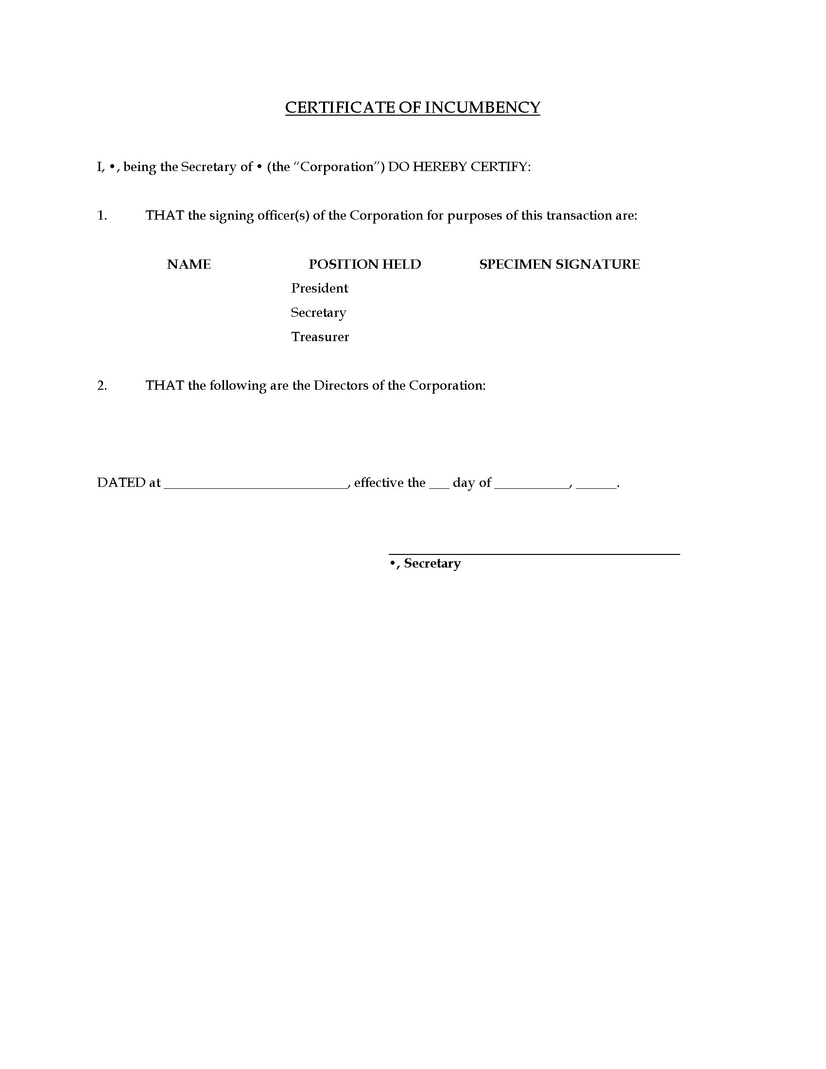 Canada Certificate Of Incumbency Form Legal Forms And Business