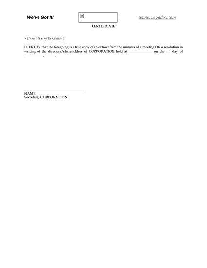 Picture of Secretarial Certificate | Canada