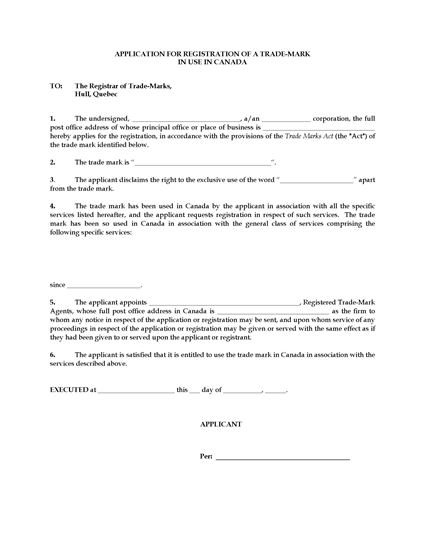 Picture of Trademark Application Form 1 | Canada