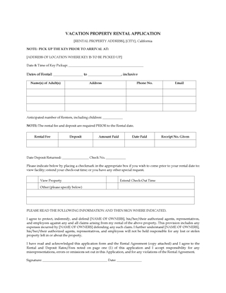 Picture of California Vacation Property Rental Application Form