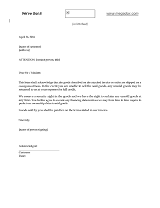 Picture of Letter of Goods Shipped on Consignment