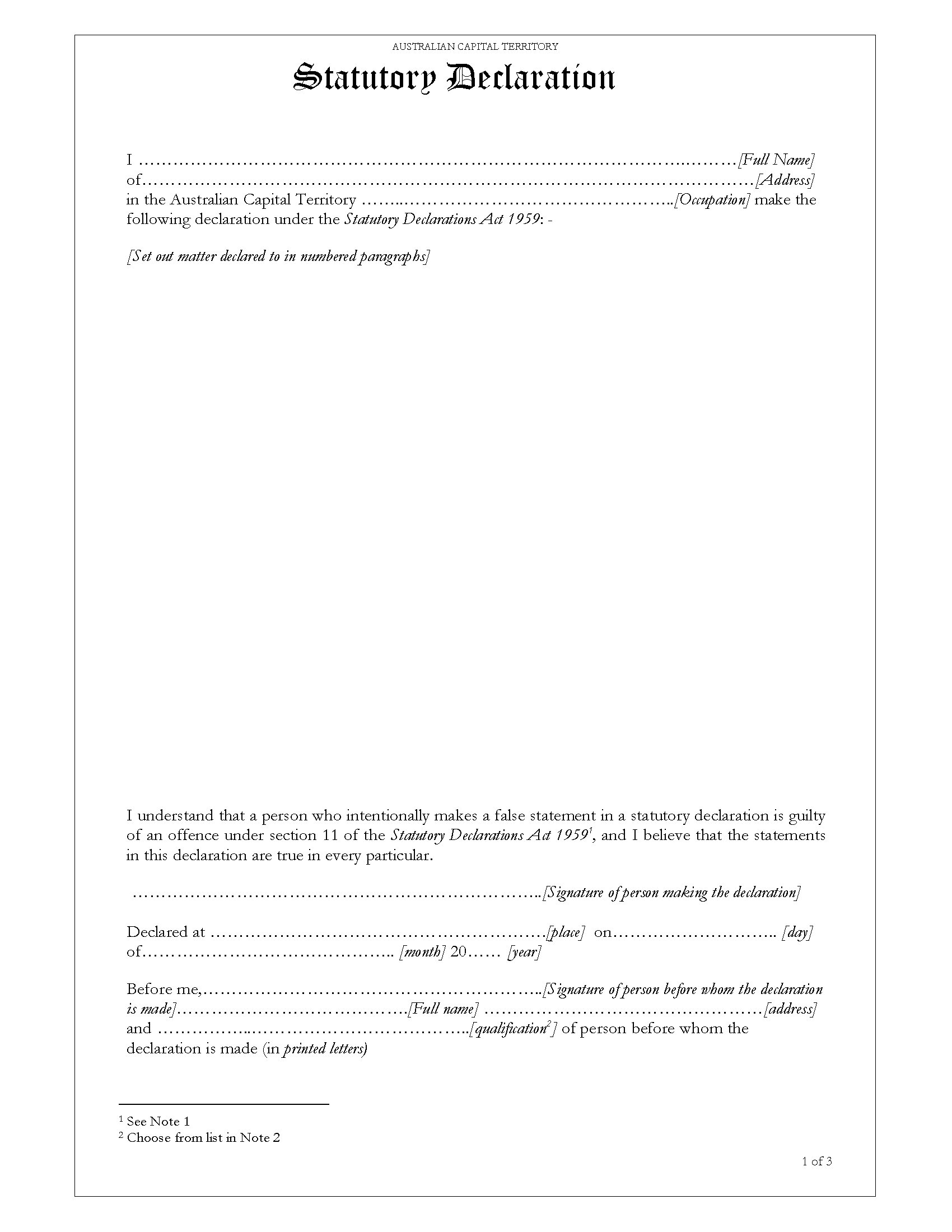 act statutory declaration form legal forms and business templates