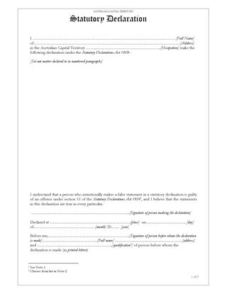 Picture of ACT Statutory Declaration
