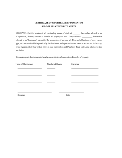 Picture of Certificate of Shareholder Consent to Sale of Assets