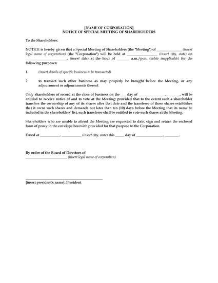 Picture of Notice of Special Shareholders Meeting   USA