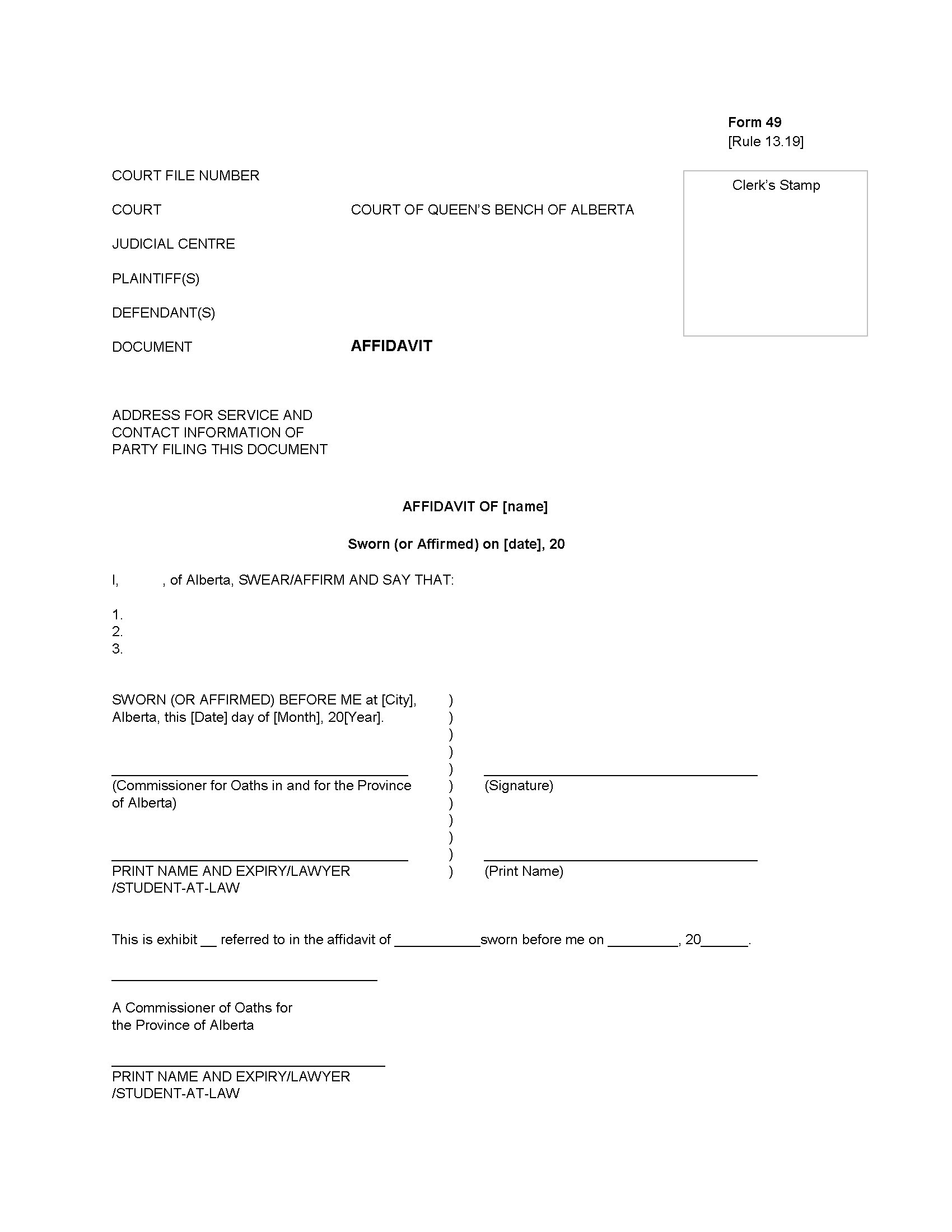 Alberta Affidavit Form Legal Forms And Business Templates - Free law forms