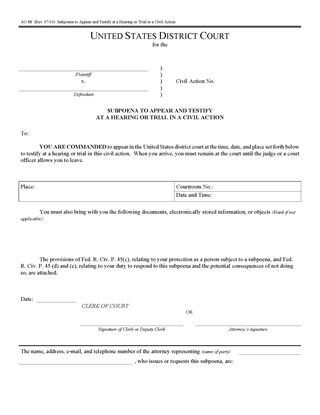 Picture of Subpoena to Appear in Civil Action (USA)